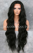 Super Long Soft Off Black HEAT SAFE Lace Front Wig Delicate wavy WEAJ 1B