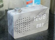 Gingko Marble Effect FM Radio Click Clock Alarm Sound Activated LED Display