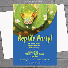 Green Snake Reptile Birthday Party Invitations x 12 + free envelopes H0034