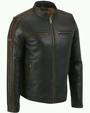 Black Rivet Mens Antique Leather Cycle Jacket