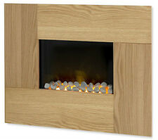 ELECTRIC HANG ON WALL HUNG MOUNTED OAK SURROUND 2KW FIREPLACE MODERN FLAME FIRE