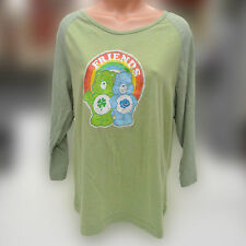 Care Bears Vintage 3/4 Sleeve T Shirt Lucky Bear Grumpy Friends Rainbow Sz 3
