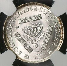 1948 NGC MS 65 SOUTH AFRICA Silver 3 pence Protea Flower Coin (16071601C)