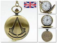 New Assassin's Creed Chain Necklackle Pocket Watch Vintage Film *UK Seller*