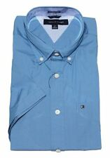 NWT  TOMMY HILFIGER SHORT SLEEVE CLASSIC FIT BUTTON DOWN SHIRT BLUE- LARGE