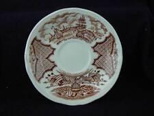 "Alfred Meakin Brown & Cream Transferware ""Fair Winds"" Saucers S5"
