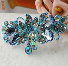 Simple 60MM crystal Rhinestone Flower hair barrette clip Hairpin  SF109