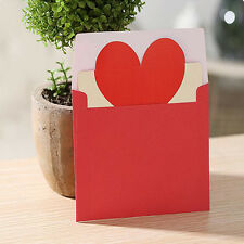 Cute Lovely 5pcs Heart-shaped Birthday Christmas Greeting Message Card Envelope