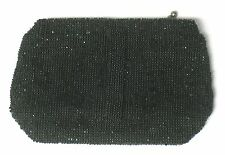 Vintage Art Deco Czech Black Beaded Evening Bag Purse Clutch w/Mirror - VGC!