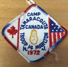 BOY SCOUTS CAMP TAMARACOUTA CANADA 1972 TROOP 14 MARLTON NJ PATCH  USED!!!!