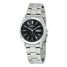 Seiko Solar Quartz Black Dial Mens Watch SNE039