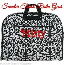 Personalized Garment Bag tote Damask Print Black trim monogrammed dress hanging
