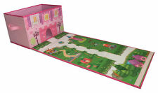 Foldable Toy Box With Roll Out Play Mat for Children with Toys – Doll House Box