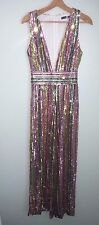 new SOLDOUT asos boohoo rainbow sequin beaded jumpsuit play dress s us 6 small