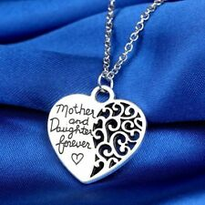 Mother and daughter Forever Heart Pendant Family Necklace Sterling Silver Plated