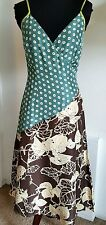 Hoss Homeless Silk Dress Floral Geometric Spaghetti Straps Size 36 NWOT