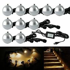 Pack of 10 Low Voltage LED Deck Light Kit Waterproof Outdoor Step Stairs Garden