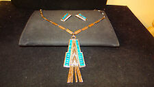 Egyptian Revival signed WHITING AND DAVIS VINTAGE NECKLACE EARRINGS SET