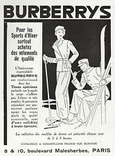 PUBLICITE  BURBERRYS BURBERRY SPORTS  D'HIVER  SKI  MODE FASHION  AD 1932