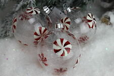 GISELA GRAHAM CHRISTMAS CLEAR GLASS WITH GLASS SHREDS CANDY DISC BAUBLE X 3
