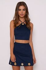 Rare Navy Suedette Crop Top Size Small UK 8 Box4441 A