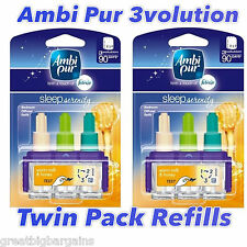 2 x AMBI PUR FEBREZE 3VOLUTION REFILLS - SLEEP SERENITY - WARM MILK AND HONEY