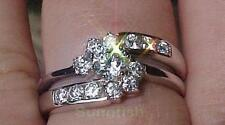 925 SOLID STERLING SILVER WEDDING ENGAGEMENT BRILLIANT SWIRL 2 RING SET SIZE 5