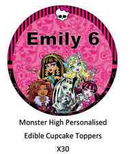30 x Monster High Personalised Cupcake Toppers Edible Wafer Paper Fairy Cake