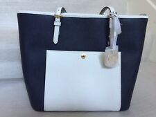 NWT Michael Kors Jet Set Large Leather Top Zip Snap Pocket Tote (Navy/White)