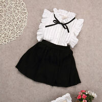 Kids Girls Summer T Shirt Tops+Skirts Shorts 2pcs Outfits Dress Clothes Set 2-7Y