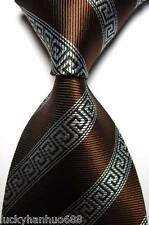 New Classic Stripe Coffee Black White JACQUARD WOVEN 100% Silk Men's Tie Necktie