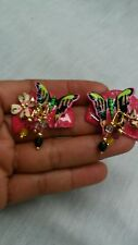 Statement runway vtg Lunch at the Ritz pink enamel butterfly crystal  earrings