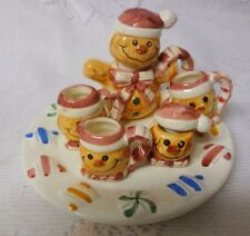 Vintage Christmas Doll House Miniature Porcelain Gingerbread China Tea Set 8pc