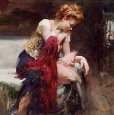 """Pino """"Anticipation"""" Beauty on couch Sold Out 28x28 Giclee Canvas Hand signed#COA"""
