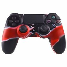 CUSTODIA COVER CONTROLLER JOYSTICK SONY PLAYSTATION 4 PS4 SILICONE Rosso / Nero