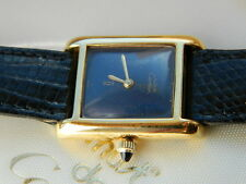 LADIES MUST DE CARTIER GOLD TANK WATCH WITH BLUE LAPIS LAZULI DIAL