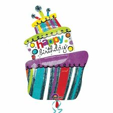 """S/SHAPE:FUNKY BIRTHDAY CAKE Holographic Foil Balloon - 24""""/61cm w x 37""""/94cm h"""