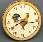 Round Wood Colorful Rooster  Wall Clock Country Kitchen Wall Decor 11 3/4