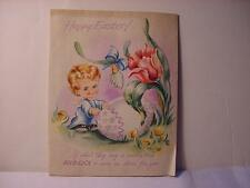Vintage 1949 EASTER Card w/CHERUB Boy Opening an Egg-Baby RABBIT Slides Out