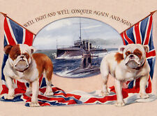 BULLDOG DOG GREETINGS NOTE CARD PATRIOTIC TWO BULLDOGS AND FLAGS