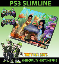 PLAYSTATION PS3 SLIM STICKER TINKERBELL AND FRIENDS FAIRIES 001 SKIN + PAD SKINS