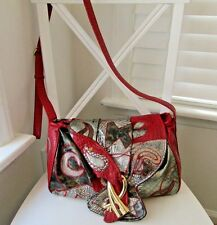 Alentino NAS Bag Bold Red & Metallic Colors Faux Reptile Crossbody Shoulder Bag