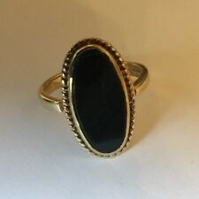Hallmarked 9ct 9k Gold Oval Cabachon Black Onyx Rope Edge Ladies Ring Size O