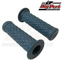 "Big Port Motorcycle Handlebar 1"" Grips Diamond Blue Cafe Racer Custom"