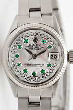 $8000 SS 18k Gold Ladies Genuine ROLEX Oyster Datejust 1ct Emerald Diamond Watch