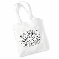 Art Studio Tote Bag MORRISSEY Lyrics Print Album Poster Gym Beach Shopper Gift