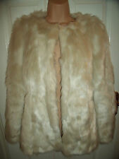 BNWOT Fashion Union Cream faux fur jacket coat Uk 6-8