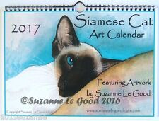 NEW - SIAMESE CAT ART PAINTING 2017 WALL CALENDAR BY SUZANNE LE GOOD