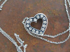 Gorgeous 14k white gold and diamond floating heart necklace pendant signed NF