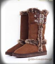 NEW WOMAN FUR TRIMMED FAUX SUEDE FASHION WINTER BUCKLE BOOTS